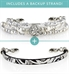 Silver beaded medical ID bracelet with silver and black leather medical ID bracelet