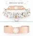 Beaded howlite and rose gold medical ID bracelet with decorative patterned rose gold medical ID cuff