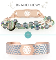 Abalone, quartz, and crystal beaded interchangeable bracelet with rose gold accents shown with rose tone and blue medical alert cuff