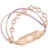 Purple and rose gold tone beaded medical ID bracelet with decorative medical ID tag