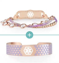 Purple and rose gold tone beaded medical ID bracelet with decorative medical ID tag with rose gold and lavender medical ID cuff