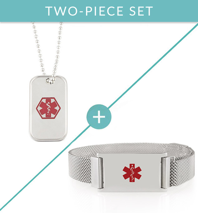 Stainless steel dog tag med ID necklace and linked style  med ID bracelet.