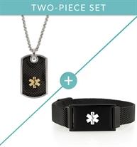 Black textured dog tag medical ID necklace and black mesh magnetic medical ID bracelet.
