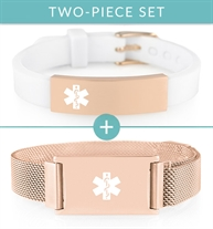 White and rose gold silicone activewear runner's medical ID with rose gold medical alert bracelet with mesh strap