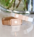 White and rose gold silicone medical ID bracelet stacked on top of rose gold medical alert with mesh band