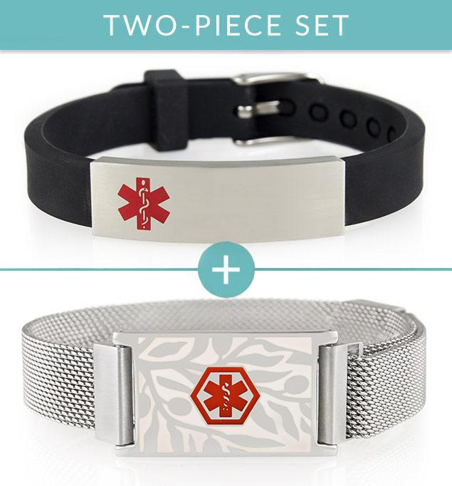 Black silicone activewear medical alert bracelet with silver and floral patterned medical ID bracelet