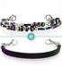 Color shifting beaded bracelet with blue and purple tones with black medical alert bracelet with sparkles
