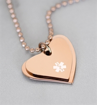 Rose gold tone dual heart medical ID necklace on rose gold tone stainless steel ball chain.