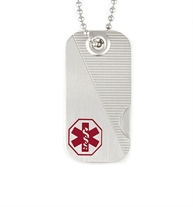 2-part Swiss Army Medical ID Dog Tag with ridge inlay and red caduceus on the top and thumb latch on the bottom, on a chain