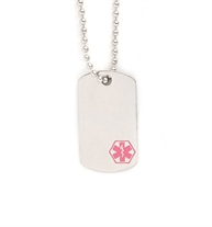 "Pink Mini Medical Dog Tag Necklace, a silver-tone stainless 3/4"" x 1-1/2"" dog tag with pink caduceus on a 18"" ball chain"
