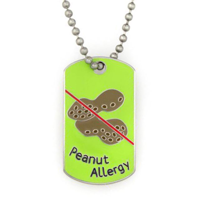 Peanut Allergy Medical ID Dog Tag Necklace