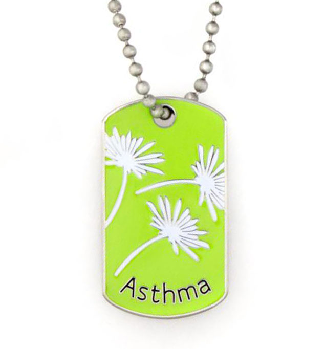 Asthma Mini Medical ID Dog Tag Necklace