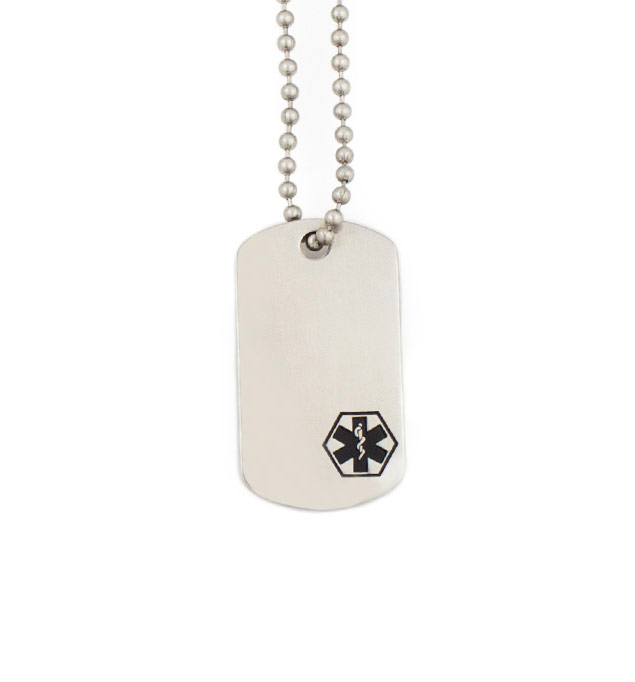 Black Mini Medical ID Dog Tag Necklace