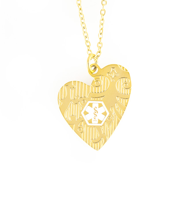 "Gold Tone Close To My Heart Medical ID Necklace. 1¼"" x 1½"" gold tone plated stainless pendant on gold tone adjustable chain"