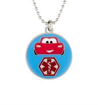The Rev It Up Medical Alert Necklace. A round pendant with blue background and a red car and red caduceus on an 18-inch chain