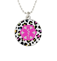 Ball chain necklace and round pendant featuring a colorful leopard pattern and pink medical alert symbol.