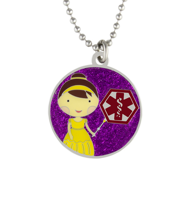 Princess Violet Medical ID Necklace. Round pendant with color finish and protective layer, with red caduceus on ball chain