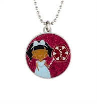 "Princess Rose Medical ID Necklace. 1-¼"" round pendant with color finish and clear protective layer, on an 18"" ball chain"