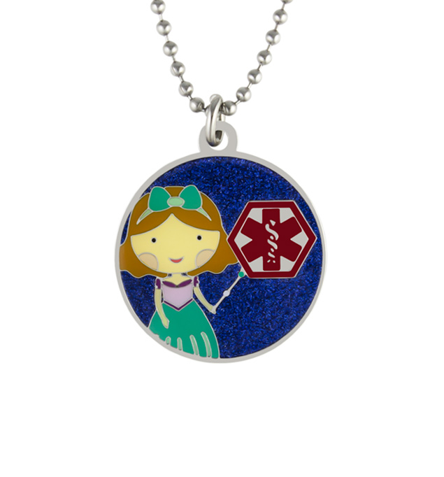 "Princess Skye Medical ID Necklace. Round pendant, color finish, clear protective layer, red caduceus on an 18"" ball chain"