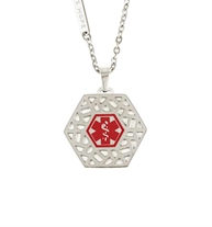 "Fusion Med ID Necklace. 1"" hexagon-shaped pendant, geometric cutouts, red medical ID caduceus symbol, on stainless chain"