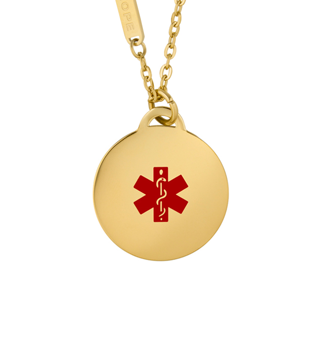 Gold tone medical alert pendant with red medical symbol and gold chain