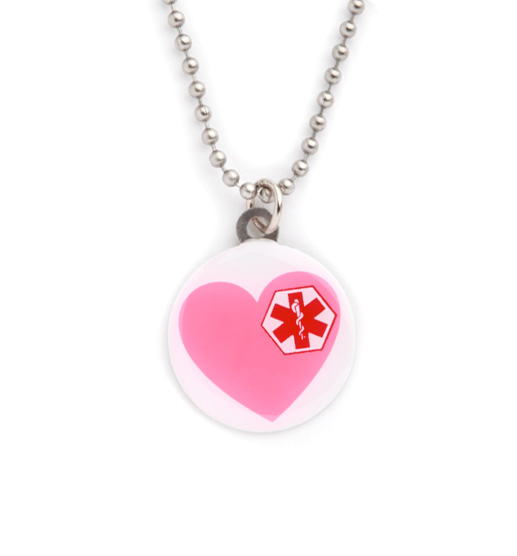 Pink Heart Medical ID Necklace