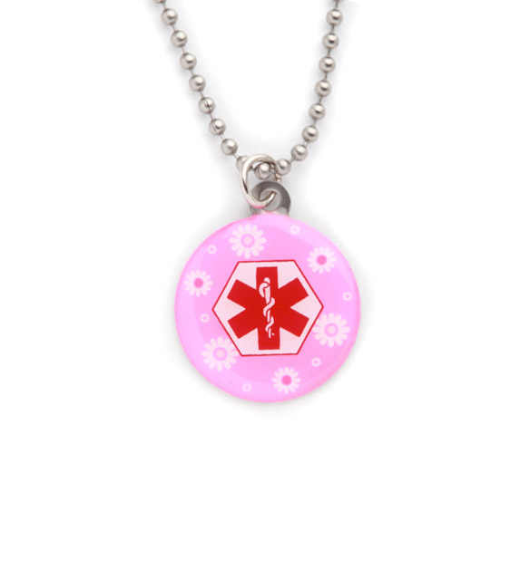 Pink Daisies Medical ID Necklace