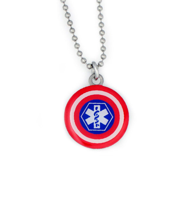Captain Stainless Steel Medical Alert Pendant For Kids