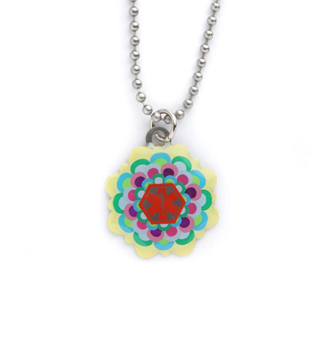 Multi Colored Flower Medical ID Pendant