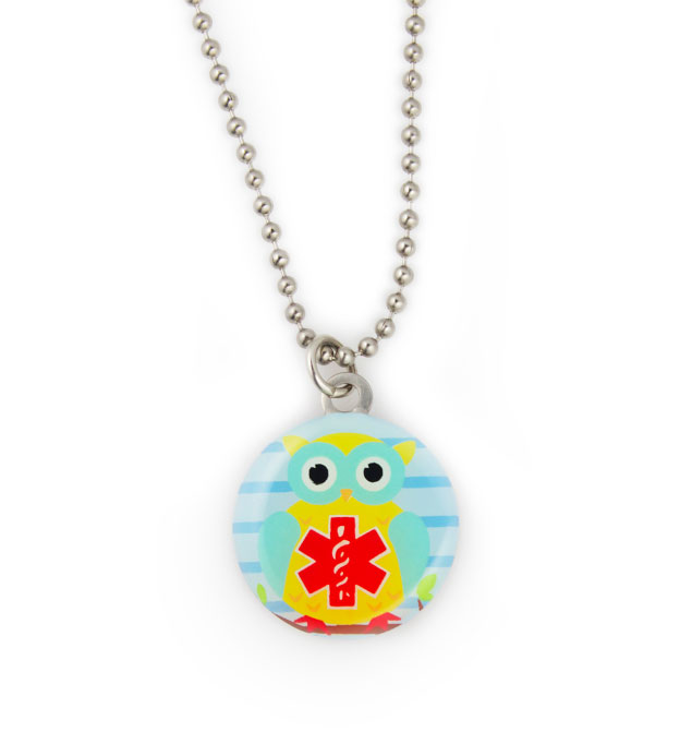 Owl Be Safe Stainless Steel Medical ID Necklace For Kids