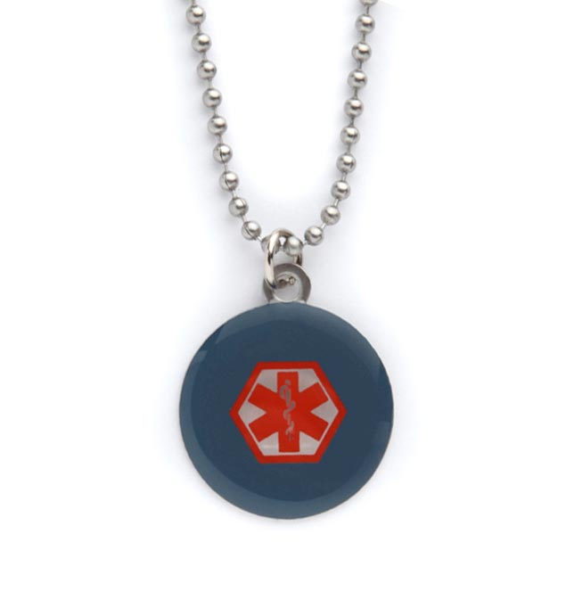 Navy and Red Medical ID Pendant