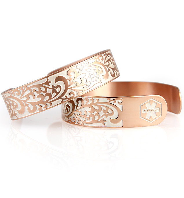 Rose Gold Tone Filigree Tech Med ID Cuff