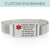 Stainless steel flat mesh band with rectangular ID tag, sample engraving, and red medical symbol to the side