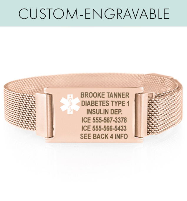 Custom engraved rose gold mesh band and ID tag with magnetic closure and tech ID engraving
