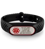 SportFit Tech ID Band in Black with custom laser engraving