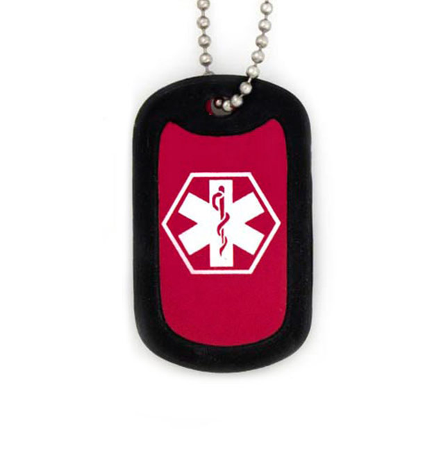 Red Medical ID Dog Tag Necklace