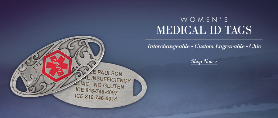 Women's Custom Engravable Medical ID Tags