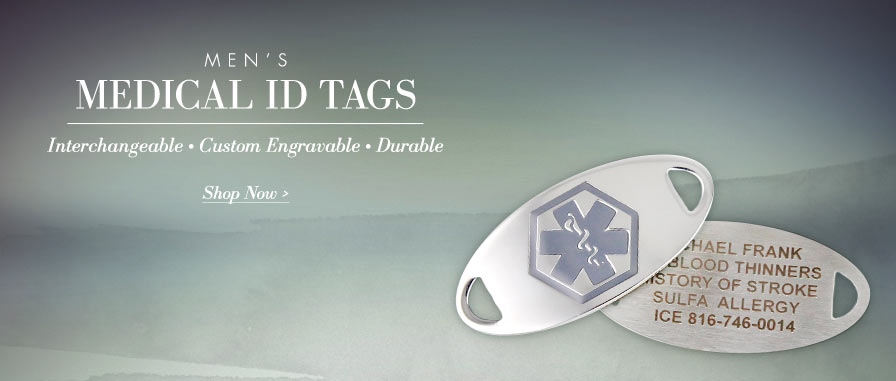 Men's Custom Engravable Medical ID Tags