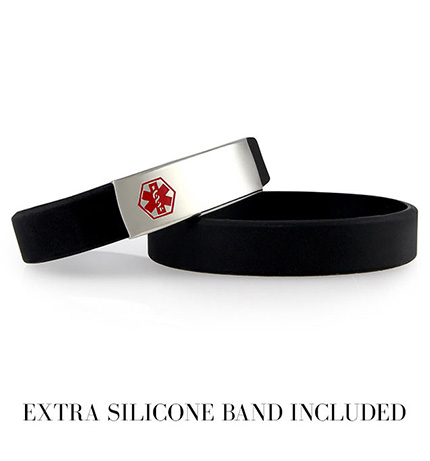 Black ActiveWear Slim Medical ID Bracelet