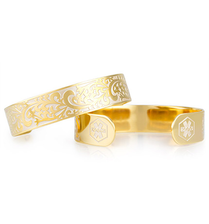 Golden Filigree Medical ID Cuff