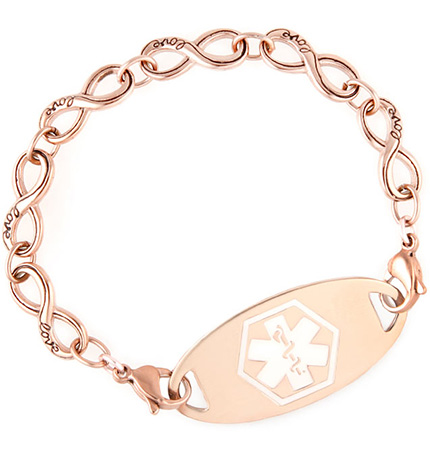 Rose Gold Tone Forever and Always Medical ID Bracelet