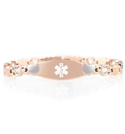 Rose Tone Love Links Medical ID Bracelet