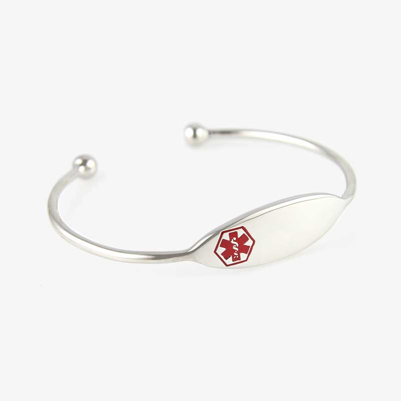 Simple silver med alert cuff with small, red medical alert symbol