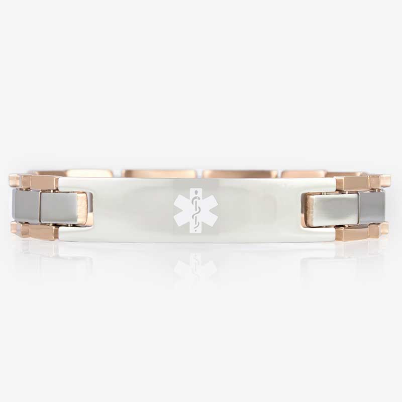Rose gold and stainless steel linked bracelet with a white medical symbol