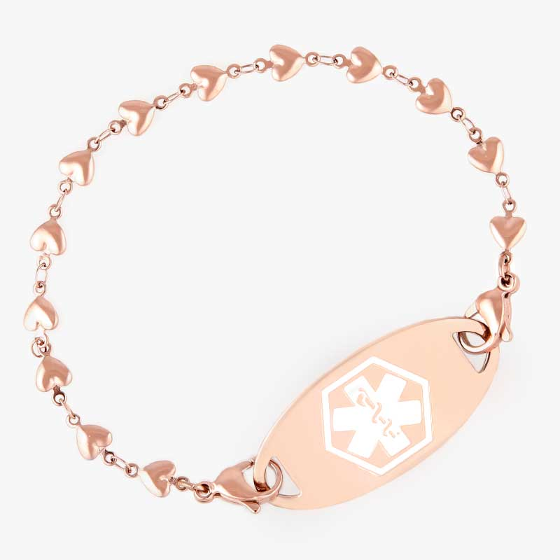 Rose gold tone hearts create a single chain that attaches to medical ID tag with lobster clasps