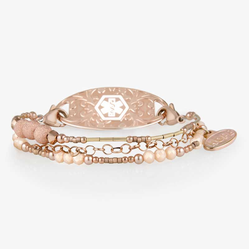 Rose gold medical alert bracelet with sparkly beads and crystals and delicate rose tone chain