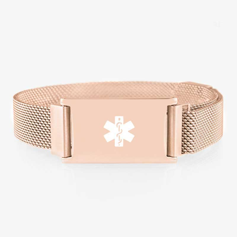 Front of the Urban Medical Alert in Rose Tone with rose mesh chain, magnetic closure, and affixed ID tag with white caduceus