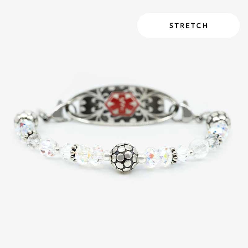 Silver beaded crystal stretch medical ID bracelet