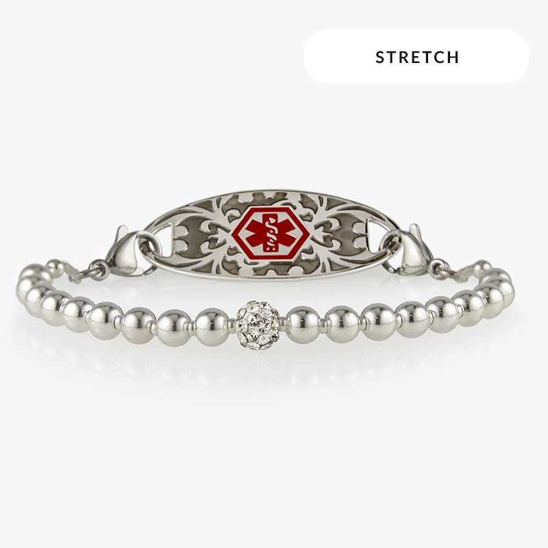 Olivia Stretch Bracelet with silver beads and red medical symbol