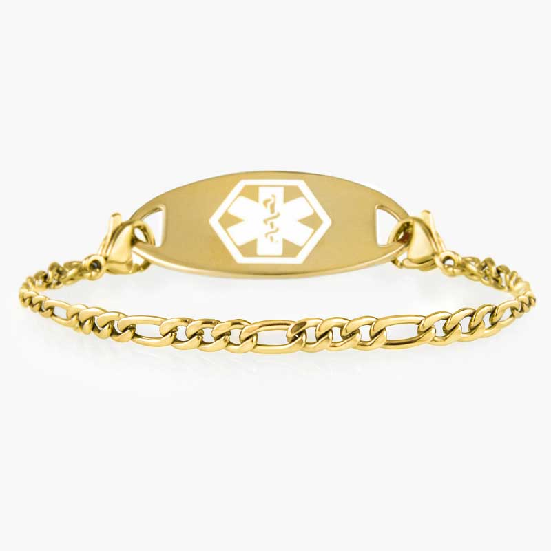 Side view of gold medical alert chain with small figaro pattern and decorative medical ID tag